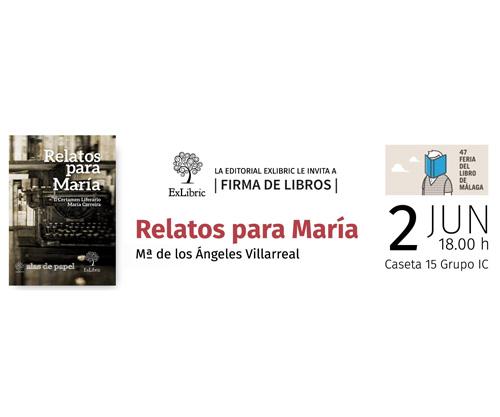 Firma de libros Relatos de María en la feria de Málaga