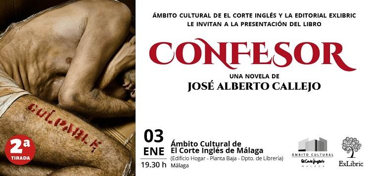 La 2ª tirada de 'Confesor' tendrá su presentación en el Corte Inglés de Málaga