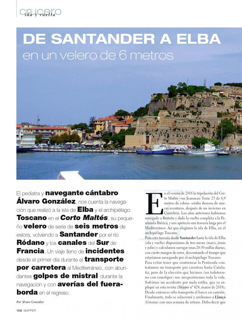 Primera página de la entrevista de Álvaro González de Aledo en Skipper