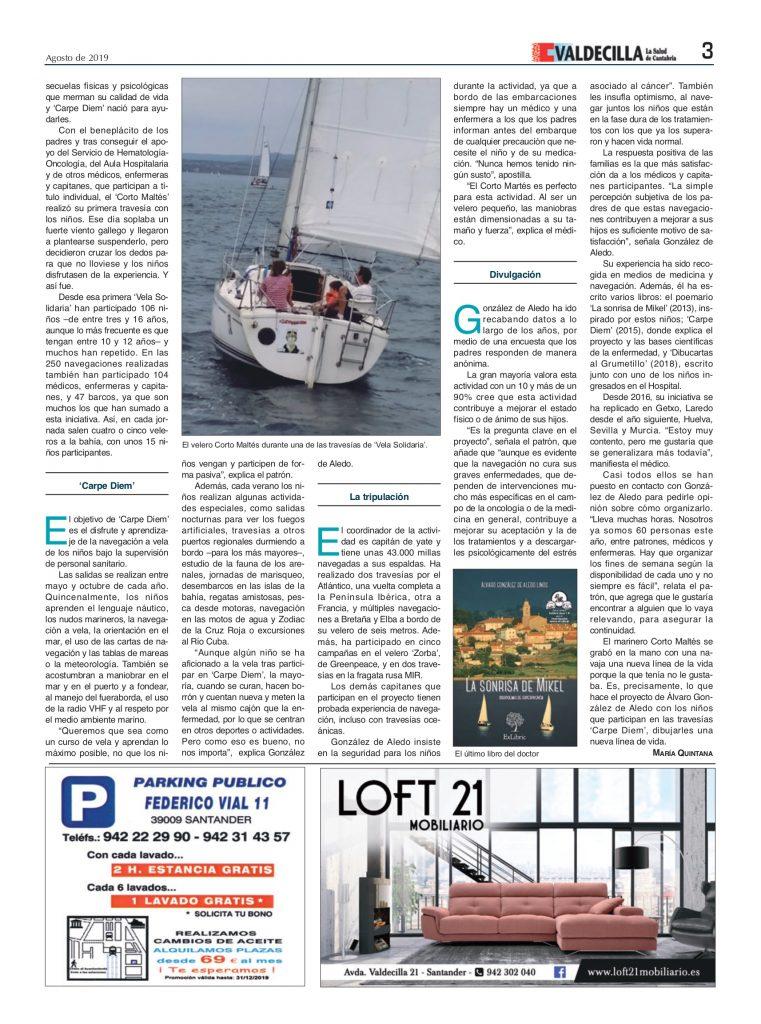 Álvaro González de Aledo Linos habla sobre sus terapias náuticas en la revista 'Valdecilla'