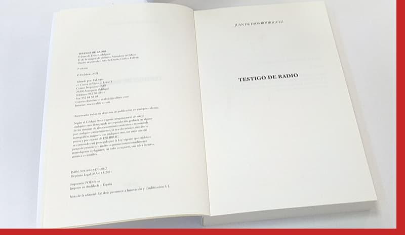 Ubicación datos legales en un libro
