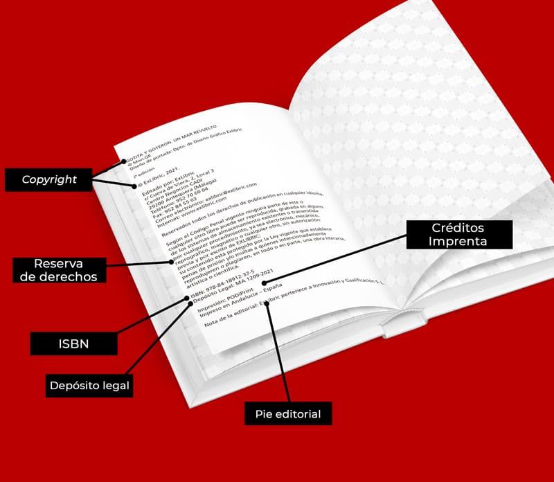 Elementos que componen la página legal de un libro